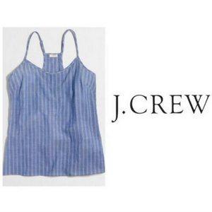 J. Crew Blue Chambray Striped Racer Back Tank Top